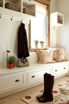 """Traditional Mud Room with Safavieh Alice Wall Shelf, Crate & Barrel Catania Coral 16"""" Pillow, High ceiling, Window seat"""