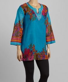 Loving this Blue Floral Studded Tunic - Plus on #zulily! #zulilyfinds