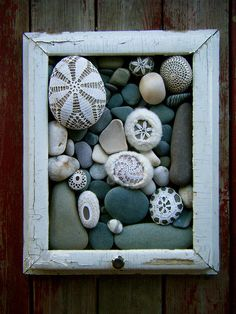 This could be a fun way to display your rocks in the bathroom... or we could do several wooden frames and line them on the hall wall...