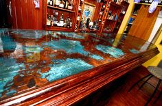 Azul Copper Basement Bar Top with an epoxy coating #colorcopper #copper #BarTop