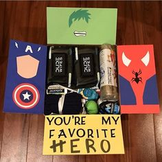 19 trendy gifts for boyfriend box care packages – presents for boyfriend Bf Gifts, Gifts For Dad, Gifts For Friends, Marvel Gifts, Superhero Gifts, Boyfriend Care Package, Care Package Ideas For Boyfriend Just Because, Presents For Boyfriend, Army Boyfriend Gifts