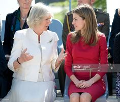 Camilla, Duchess of Cornwall (L) and Princess Letizia of Spain visit the Guide Dogs Center at the ONCE Foundation on day two of a three day visit to Spain on March 31, 2011 in Madrid, Spain.