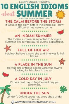 Here you will find useful English summer vocabulary + phrases and idioms related to summer. A drop in the ocean, full of hot air, dogs days of summer, make English Vocabulary Words, Learn English Words, English Idioms, English Phrases, English Lessons, English Language Learning, Teaching English, English Collocations, Idiomatic Expressions
