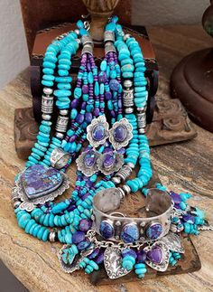Southwestern Purple Turquoise Collection Necklaces, earrings heart pendant charm & stacking bracelets by Schaef Designs jewelry online I Love Jewelry, Beach Jewelry, Tribal Jewelry, Turquoise Jewelry, Jewelry Sets, Jewelry Design, Designer Jewelry, Turquoise Stone, Silver Jewelry