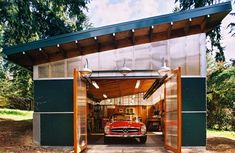 "This is a ""man cave"" article, but this is the coolest workshop.  Just get rid of the car, so I can use it as a garden shed."