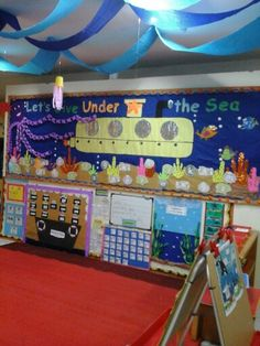 Under the Sea Classroom Decoration Classroom Decor Themes, New Classroom, Classroom Design, Kindergarten Classroom, Classroom Ideas, Ocean Themed Classroom, Classroom Ceiling Decorations, Preschool Decorations, Library Themes