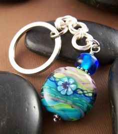 Flower Key Chain - Glass Bead Chainmaille Key Chain. $29.00 USD, via Etsy.