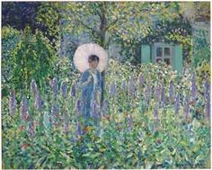 Foxgloves by Frederick Carl Frieseke (1874-1939).  Sold at Christies in May 2012, for $2,210,500