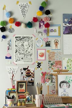 "Tiarne and I are taking a studio imaging class at uni and this is one of the finals from our ""desk"" photoshoot tonight. Some of our work + a few artists we love (like Gemma Flack and Mel Stringer) and all the fun eclectic things we both own/that clutter our own desks. We had such a fun time putting this look together."
