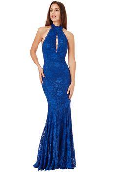 Keyhole Lace Maxi Dress Royal Blue