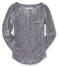 Sheer Floral Lace Henley from Aeropostale