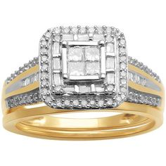 Buy 1/2ct. T.W. Baguette, Princess and Round Diamond 10kt Yellow Gold Engagement Ring in Cheap Price on Alibaba.com