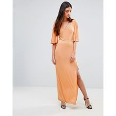First & I Flutter Sleeve Maxi Dress (334.025 IDR) ❤ liked on Polyvore featuring dresses, multi, maxi length dresses, tall maxi dresses, flutter sleeve maxi dress, v neck open back dress and flutter sleeve dress