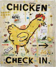 """Saatchi Art Artist Brian McDonald; Collage, """"Chicken, Run!"""" #art"""