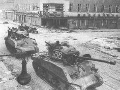 Soviet Red Army Shermans line the streets of Vienna, Austria, 1945.