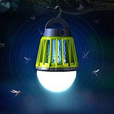 Enkeeo 2en 1anti-moustiques Lanterne de camping lumière de tente–Portable IPX6étanche Insect Killer Zapper LED Lanterne avec 2000mAh Batterie rechargeable, crochet rétractable, abat-jour amovible, Green