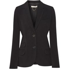Vanessa Bruno Ecija crepe blazer (1.860 BRL) ❤ liked on Polyvore featuring outerwear, jackets, blazers, black, tailored jacket, vanessa bruno jacket, crepe jacket, padded jacket and vanessa bruno