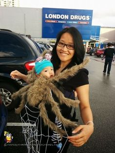 My son and I are wearing our homemade baby and mom costume - spider and web. I was searching for costume ideas that would allow me to wear my 6 month ...