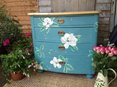PINE HAND PAINTED SHABBY CHIC CHEST OF DRAWERS BASED ON SANDERSON PEONY FABRIC