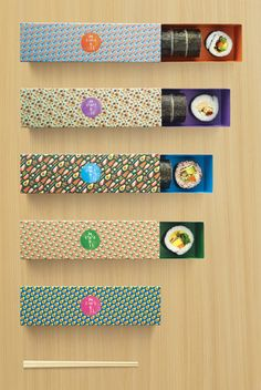 Vivid repeat-pattern sushi packaging is a foody's delight