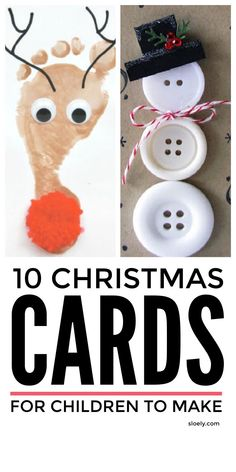 Handmade Christmas cards kids can make. Easy cute DIY homemade Christmas card ideas suitable for preschool and school children, including religious, funny and vintage cards made with handprint, fingerprints, paint and printables featuring santa, reindeer, robins, nativity scenes and more. #christmascards #handmadechristmascards #homemadechristmascards #diychristmascards #christmascardskids