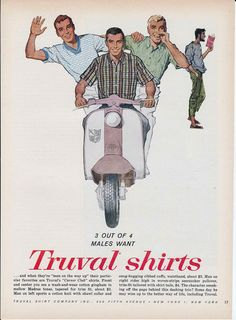 Truval Shirts Scooter Lambretta Ad Vintage