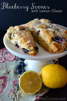 Blueberry Scones with Lemon Glaze from KatiesCucina.com #BrunchWeek