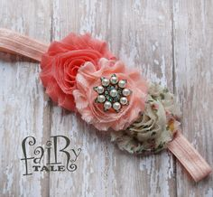 BABY headbands,Coral and peach Vintage baby headbands, headbands, newborn headbans,baby accessories,shabby chic headbands, baby
