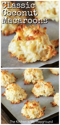 Classic Coconut Macaroons ~ A coconut lover's dream! Made with just 5 simple ingredients, coconut Amazing Cookie Recipes, Best Dessert Recipes, Fun Desserts, Sweet Recipes, Delicious Desserts, Easy Recipes, Yummy Appetizers, Coconut Desserts, Coconut Recipes