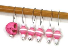 Stitch Markers Snagless Pink White Skull DIY by TJBdesigns on Etsy, $7.50