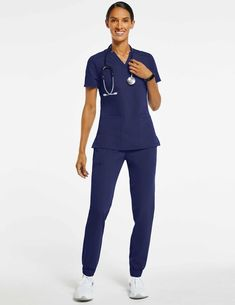 Women's Relaxed 3-Pocket Top in Navy - Medical Scrubs by Jaanuu Medical Scrubs, Nursing Scrubs, Scrubs Outfit, Lab Coats, Normcore, Man Shop, Pocket, Navy, Outfits