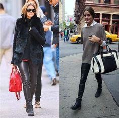 Το δερμάτινο παντελόνι μπορεί να φορεθεί το πρωί στη δουλεία με ένα πιο άνετο ζεστό χρωματιστό ή μονόχρωμο πουλόβερ συνδυασμένο με χαμηλά μποτάκια. #leather_trousers #street_style