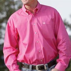 Cinch Pink Solid Twill Shirt MTW1103320