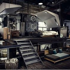 35 Top Guide of Best Interior and Loft Design Ideas in Industrial Style - myhomeorganic Men's Bedroom Design, Industrial Bedroom Design, Bedroom Loft, Industrial House, Home Room Design, House Design, Men Bedroom, Industrial Style, Industrial Furniture