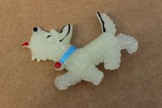 Vintage glow Westie Scottie dog plastic pin brooch old stock cute