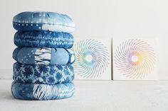 Indigo Dyed Zafu Meditation Cushion: Clamp Resist by GretchieW