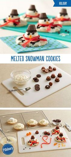 These Melted Snowman Cookies are the cutest cookies you'll see all holiday season! Sugar cookies topped with frosting, marshmallows and candy for decorating it's a fun holiday activity for the whole family. Also perfect for if you are hosting a cookie swap, exchange or party.
