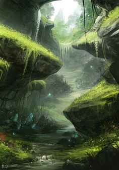 Engkanto by Ninjatic on DeviantArt I love the greens in this. And that cavern? valley? cleft? looks like a great place to hang out and have a picnic.