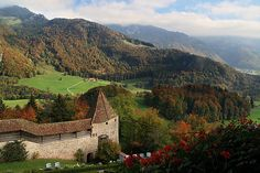 View from the balcony of Chateau de Gruyeres.  La Gruyère, Canton of Fribourg, CH, by zap358, via Flickr