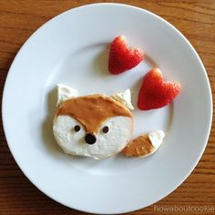 "What did the fox say? We think, ""Yum!"" Try this twist on a traditional bagel and cream cheese. Just add peanut butter and chocolate chips. #Fox #FunWithFood Via How About Cookie"