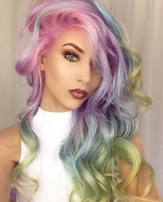 Designer Clothes, Shoes & Bags for Women Color Your Hair, Dye My Hair, Pelo Color Gris, Multicolored Hair, Colorful Hair, Rides Front, Different Hair Colors, Natural Hair Styles, Long Hair Styles
