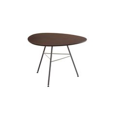 Height 50 cm with round top (diameter 79 cm and 100 cm), square top (79 x 79 cm) or triangular with rounded edges top. 3 or 4 leg base made of white, moka..