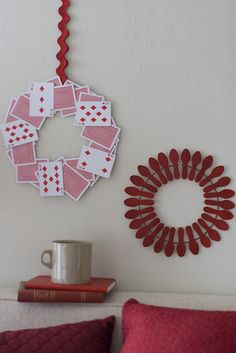 playing card and wooden spoon wreaths