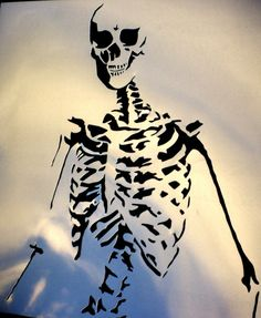 high detail airbrush stencil skeleton FREE UK POSTAGE