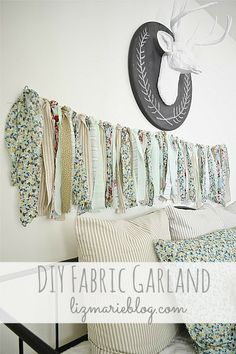 See how to make simple DIY fabric garland to use in your home decor or for a party. (Thanks, sister! Sewing Crafts, Diy Crafts, Hand Crafts, Fabric Garland, Diy Garland, Fabric Strips, Toddler Crafts, Christmas Crafts, Christmas Tree