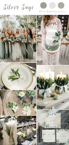 romantic rustic silver sage garden wedding color inspiration wedding colors Top 10 Wedding Color Trends We Expect to See in 2019 & 2020 (parte-one) Sage Wedding, Our Wedding, Dream Wedding, Wedding Rustic, Rustic Weddings, Unique Weddings, Unique Wedding Themes, Wedding Blue, Olive Wedding