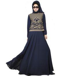2016 Fashion Chiffon Muslim Abaya Dubai Islamic Clothing For Women Embroidery Abaya Jilbab Djellaba Musulmane Golden Print Dress #Islamic clothing Abaya Dubai, Islamic Clothing, Muslim, Chiffon, High Neck Dress, Embroidery, Clothes, Shopping, Dresses