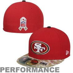 New Era San Francisco 49ers Salute To Service On-Field 59FIFTY Fitted Performance Hat - Scarlet/Digital Camo
