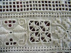 Though there seem to be many designs for the various elements in Lefkara lace – lots of different takes on the drawn thread elements and on the geometric embroidered elements Hardanger Embroidery, White Embroidery, Cross Stitch Embroidery, Hand Embroidery, Drawn Thread, Thread Work, Needle Lace, Needle And Thread, Art Tribal