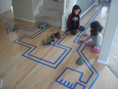 Create your own road with blue masking tape.